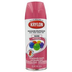Krylon Watermelon Indoor/Outdoor Spray Paint is a premium spray paint with the ultimate ease and control.  For use with wood, metal, wicker, wrought iron, glass, plaster, ceramic, fabric, paper, paper mache and more.