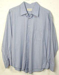 PRONTO UOMO Mens Blue Checkered 100% Cotton Long Sleeve Button Down Shirt XL #ProntoUomo