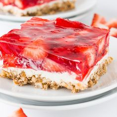 A recipe for Strawberry Pretzel Bars. These easy to make Strawberry Pretzel Bars are a favorite dessert recipe that our family loves. Mini Desserts, Just Desserts, Delicious Desserts, Dessert Recipes, Yummy Food, Salad Recipes, Oreo Dessert, Dessert Bars, Strawberry Pretzel Salad