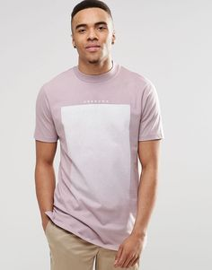 Image 1 ofASOS Longline T-Shirt With Gradient Text Print And Wide Neck Trim