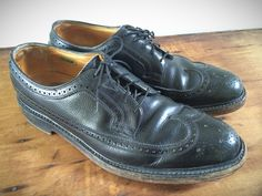 Vintage 60's Black Florsheim Imperial Wingtip Shoes V Cleat Sz 9 1/2 by CampCreekVintage on Etsy