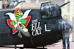 "Lancaster - ""THE 'ELL CAT"". Lancaster Bomber, Aircraft Painting, Airplane Art, Time Kids, Vintage Airplanes, Vintage Cartoon, Navy Ships, Nose Art, Aviation Art"