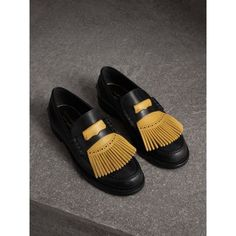 The Best Men's Shoes And Footwear : Burberry Contrast Kiltie Fringe Leather Loafers Black Leather Loafers, Leather Slip Ons, Smooth Leather, Calf Leather, Loafers Men, Burberry Gifts, Burberry Shoes, Burberry Men, Gucci