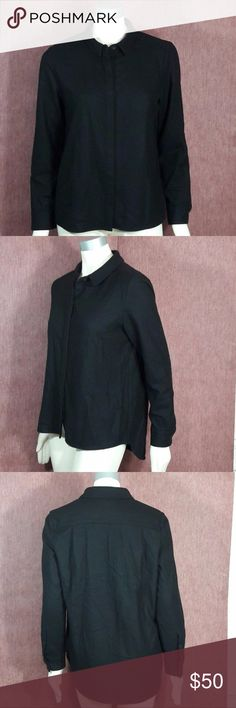"Wool Blend Hi Lo Shirt KATE SPADE Saturday Women's Large Black Wool Blend Hi Lo Button Down Shirt  Length:"" Bust:"" Gently used with no flaws. Please see photos for exact details. Thank you for patronizing us. kate spade Tops Button Down Shirts"