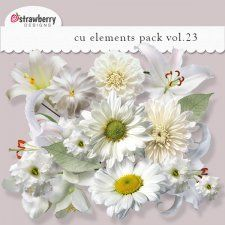 White Flowers Element Mix Vol 23 by Strawberry Designs available at cudigitals.com. Providing digital scrapbooking graphic designs for commercial use.