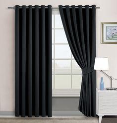 Super Soft Interwoven Thermal Blackout Ring / Eyelet Curtains (66x72, Black): Amazon.co.uk: Kitchen & Home