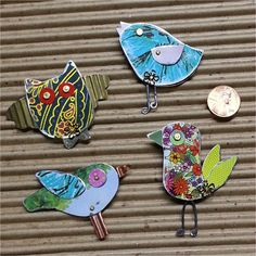 BIRD BRAIN BROOCHs by Debbie Austin *curiouser and curiouser... thinking I could do something similar on a smaller scale... as charms and drops*