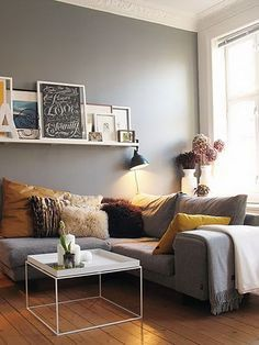 Home decor for small apartments decorating small apartment perfect apartment living room decor ideas for apartment . Living Room Grey, Home And Living, Cozy Living, Modern Living, Grey Room, Corner Sofa Living Room Layout, Blue And Mustard Living Room, Mustard And Grey Bedroom, Charcoal Sofa Living Room