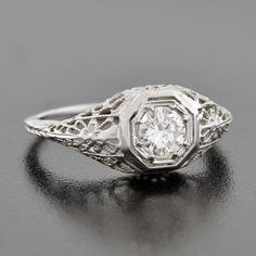 A. Brandt + Son - Art Deco 18kt Diamond Engagement Ring .54ct