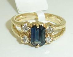 Estate Emerald Cut Sapphire & Diamond Engagement by gemquality, $270.00