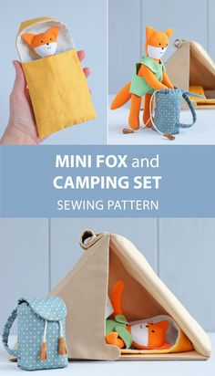 Mini fox doll with clothes + Camping set (camping tent, sleeping bag, backpack) for mini doll sewing patterns. Doll Sewing Patterns, Bag Patterns To Sew, Sewing Toys, Sewing Crafts, Sewing Projects, Craft Projects, Weaving Patterns, Bead Patterns, Cute Crafts