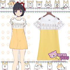 S-2XL Kawaii Doge Shoulder Off Dress SP166158