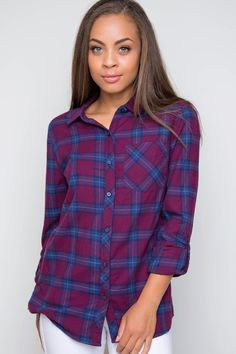 """Details Size Guide Model Stats Contact      Add a new member to your brat pack in our burgundy New Crew Plaid Top!Featuring soft, flannel-knit fabric with minimal stretch. Fold-down collar and button-down front. One chest pocket detail. Long buttoned sleeves roll-up with button-tab closure. Slightly curved, high-low hem. Unlined, finished hem.*100% Cotton*38"""" Bust; 38"""" Waist;26.5"""" Side; 27.5"""" Front; 29"""" Back*Model is wearing size small. (Measurements taken from size small.) *Hand wash…"""