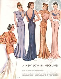 what-i-found: Slit Hemlines, Slashed Backs, Low Necklines - Evening Gowns - 1934