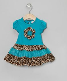 Take a look at this Turquoise Leopard Flower Dress - Infant, Toddler & Girls by Rare Editions on #zulily today!