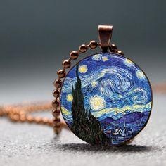 Van Goghs Starry Night Pendant Vintage Art Resin Pendant #picture pendant #photo pendant ..Wendy Schultz via Etsy.com onto Jewellery.
