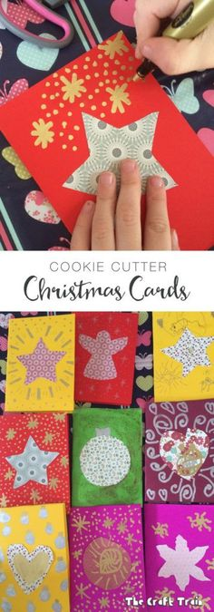 Kid-made Cookie Cutter Christmas Cards