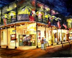 Night Owls, painting of New Orleans - Terrence Beesley
