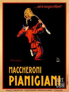 Maccheroni Pianigiani, 1922 Print by Achille Luciano Mauzan at Art.co.uk