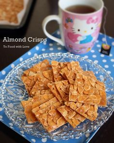 To Food with Love: Almond Crisps (Almond Brittle) Brittle Recipes, Nut Recipes, Almond Recipes, Candy Recipes, Snack Recipes, Dessert Recipes, Snacks, Chinese New Year Cookies, New Years Cookies
