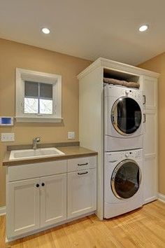 Awesome Laundry Room Ideas Stacked Washer Dryer Design With White Washing Machin., Awesome Laundry Room Ideas Stacked Washer Dryer Design With White Washing Machin…, Small Laundry Rooms, Laundry Room Organization, Laundry Room Design, Laundry In Bathroom, Diy Organization, Basement Laundry, Small Utility Room, Compact Laundry, Bathroom Mat