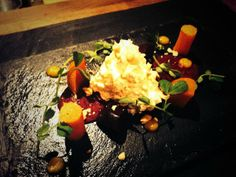 @churchyboy22 - Blue cheese mousse, textures of beetroot, hazelnut & baby shoots #FeedYourEyes July/Aug