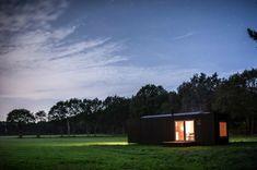 Forest, meadow, landscape, night, cabin