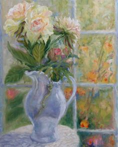 """Peonies in a ceramic pitcher. Home decor, interior design, flowers, oil painting, french doors, I love color, enhance your room, light and reflection, yellow, purple, orange, green, white, Heather Dawn Fine Art https://heatherdawnfineart.com  <a href=""""https://fineartamerica.com/art/full+bloom"""" style=""""font: 10pt arial; text-decoration: underline;"""">full bloom art for sale</a>"""