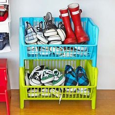 Store More Shoes - Get your kid's kicks off the floor and into these plastic stackable baskets.