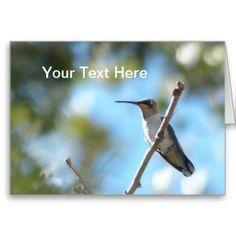 Hummingbird on a Branch Greeting Card. Customize it on Zazzle  #hummingbirds