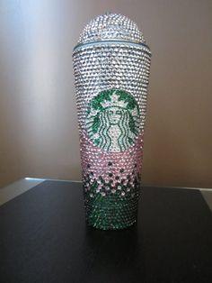 Custom Rhinestone Bling Starbucks Cold Drink Dome Lid Tumblers 24 oz/16 oz