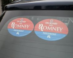 """Quantity 2 - PLASTIC HANGING CAR WINDOW SIGNS - """"ON BOARD WITH ROMNEY"""" 4""""x6"""" OVAL (anti obama nobama gop republican decal sticker) by OnBoardWith.com by OnBoardWith.com, http://www.amazon.com/dp/B008A9RYUW/ref=cm_sw_r_pi_dp_Jbvuqb1YNE2XF"""