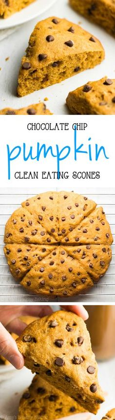 Healthy Pumpkin Chocolate Chip Scones -- so tender & ready in just 30 minutes! The BEST pumpkin scones you'll ever have!