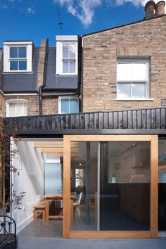 London house extensions awarded by Don't Move, Improve! House Extension Design, House Design, Patio Plan, Timber Sliding Doors, Sliding Wall, Wooden Doors, Architecture Design, Larch Cladding, Rear Extension