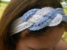 Crochet sailor-knot headband, blue and white..