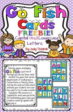 Kids love games and Go Fish is a fun card game that your young students will enjoy playing in pairs or small groups. Included in this resource are Capital and Lowercase letters that your students will try to match up. Besides Go Fish, these cards can be p