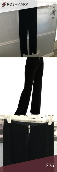 """Carushka velvet pants Perfect for a Saturday morning Jazz class or a Saturday night out, these classic Carushka New York Pants transition from day to evening with ease.  Accented with a Carushka Logo front zipper pull, the New York Pants have been called, """"the best fitting boot cut pant, EVER!""""  Figure flattering drop waist shows off your hard work Boot-cut. Unique, wrinkle resistant stretch velvet Stretch Velvet: 90% Nylon 10% Lycra carushka Pants"""