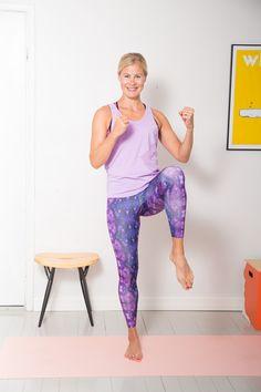 Kotitreeniohjeet –  Rasvanpolttojumppa 20 min Excercise, Capri Pants, Health Fitness, Abs, Sporty, Workout, Training, Style, Fashion