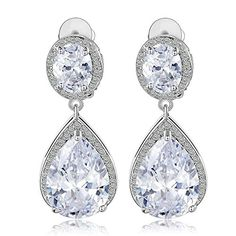 Mebarra Cubic Zirconia Swarovski Crystal Element Teardrop Dangle Pave CZ Wedding Bridal Earring, Specical Occasion - Jewelry For Her