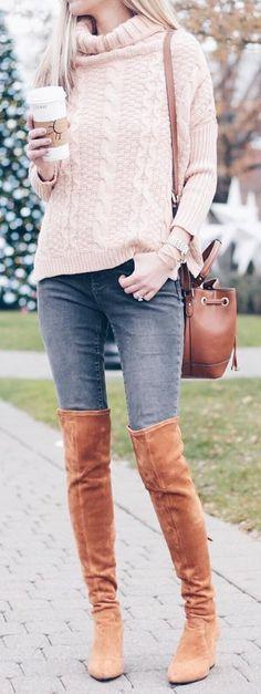 Pink Wool Turtleneck Knit / Dark Denim / Brown OTK Boots
