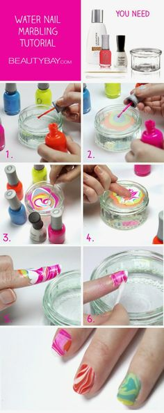 Tutorial: Water Marble Nail Art. This is fantastic. Will post a pic when I try it at home. - Plan Provision