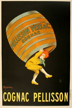 This original poster, COGNAC PELLISSON, was created by the renowned poster artist Leonetto Cappiello. He uses the whimsy of the image to attract our eye and let us know how delightful the Cognac Pellisson liquor must be. The skillful use of an oversize central figure helps to focus the viewer on the product. Check it out on our website: http://www.postergroup.com/details.asp?posterid=1064