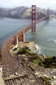 May 24, 1987. The Golden Gate Bridge was celebrating the 50th anniversary. We were there and it was chaos. No one could have predicted that 800,000 people would show up for the bridgewalk. We only made it half way before gridlock- the human kind.