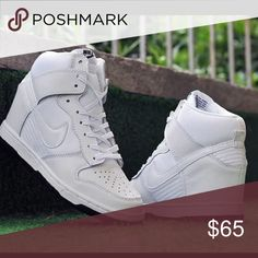 Nike SB Dunks. Worn once only! Brand new original white high top Nike dunks. Never been worn. Box included. Super cute and very comfortable. I already have two other colors so I don't need them anymore! Nike Shoes Platforms