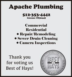 Commercial | Residential  • Repair/Remodeling  • Sewer Drain Cleaning  • Camera Inspection | Apache Plumbing - San Marcos, TX #texas #SanMarcosTX #shoplocal #localTX
