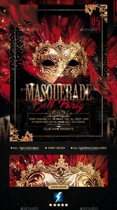 Buy Masquerade Ball Party Flyer by sparkg on GraphicRiver. Masquerade Ball Party Flyer It's unique flyers, poster design for your business Advertisement purpose. Masquerade Ball Decorations, Masquerade Party Invitations, Masquerade Party Decorations, Masquerade Ball Party, Sweet 16 Masquerade, Masquerade Wedding, Masquerade Theme, Mardi Gras, Prom Themes