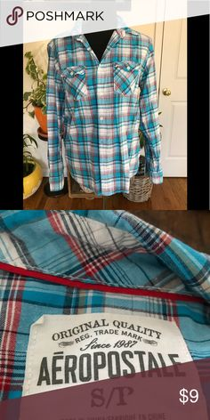 Aeropostale men's button down Grey tucked in or as a layering piece fits like a woman's medium Aeropostale Tops Button Down Shirts