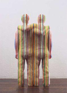 The multi-colored stripe sculptures of Kyotaro Hakamata