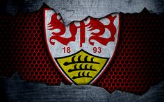 Download wallpapers Stuttgart, 4k, logo, Bundesliga, metal texture, soccer, VfB Stuttgart, football