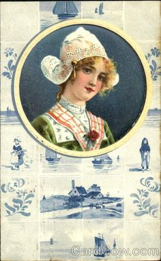 young dutch girl and tiles postcard, 1910